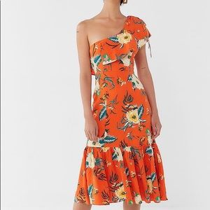 Urban Outfitters orange tropical dress